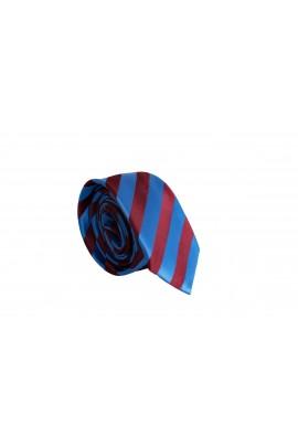 Slim Μπλέ Γραβάτα 4,5cm Πλάτος με κόκκινη ρίγα