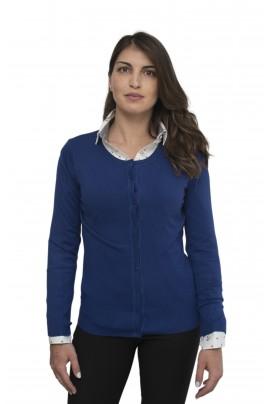 Μπλε ηλεκτρικ απαλή γυναικεία ζακέτα με λαιμόκοψη