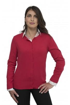 Κόκκινη απαλή γυναικεία ζακέτα με λαιμόκοψη