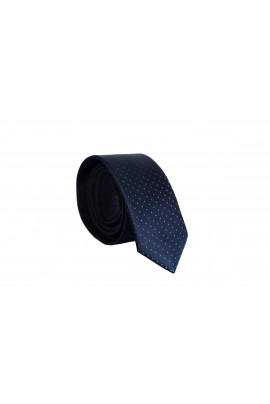 Slim Μπλέ Γραβάτα 4,5cm Πλάτος με κόκκινα πουά