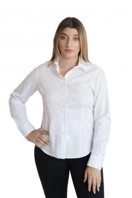 Γυναικείο Πουκάμισο Λευκό με Ανάγλυφο Σέδιο στο Ύφασμα 80% COTT 20% POL - ELEONORA