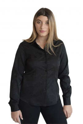 b5420c31e6a4 Γυναικείο Πουκάμισο Μαύρο με Ανάγλυφο Σέδιο στο Ύφασμα 80% COTT 20% POL -  LOUISA