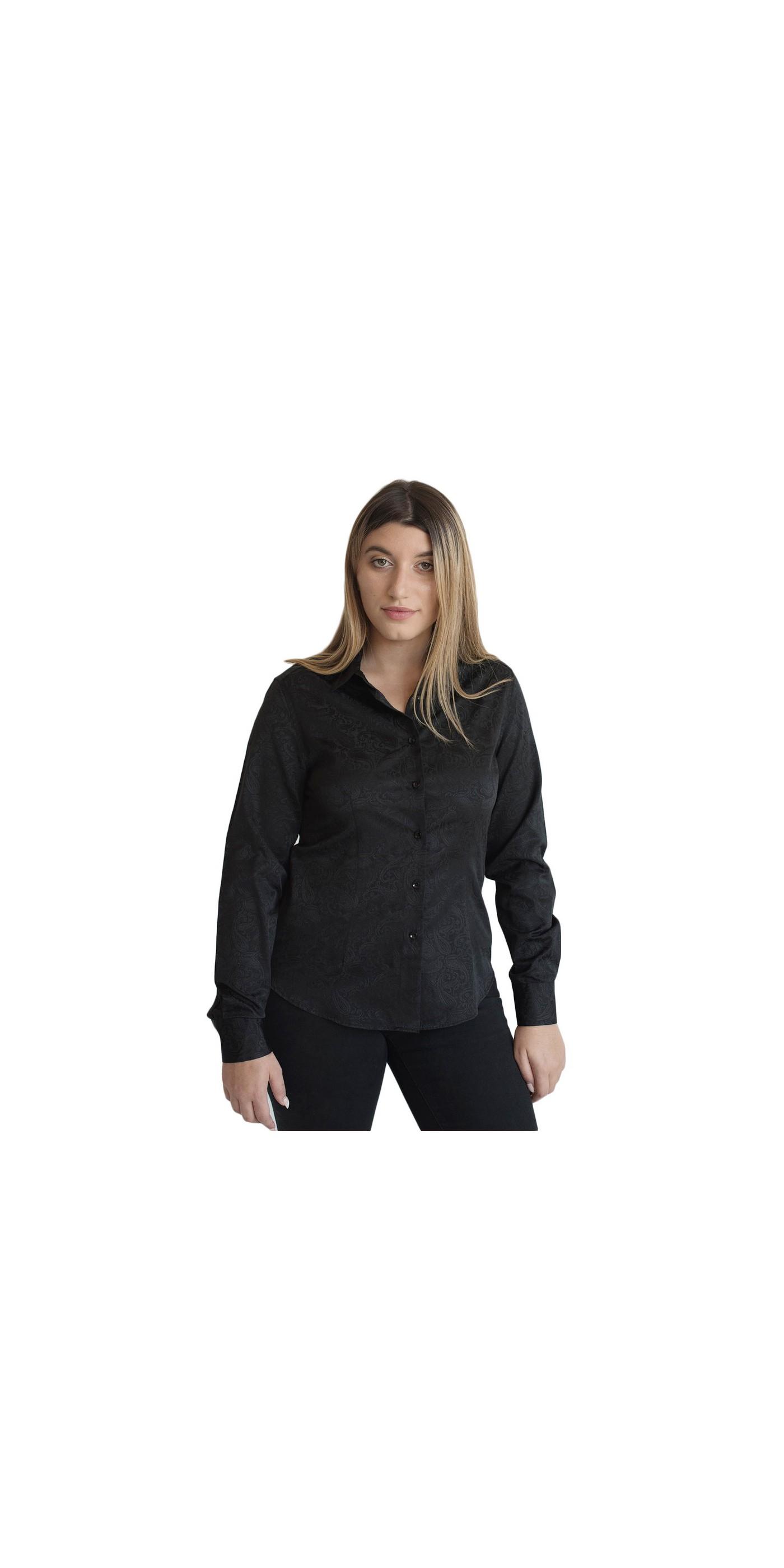 Γυναικείο Πουκάμισο Μαύρο με Ανάγλυφο Σέδιο στο Ύφασμα 80% COTT 20% POL -  LOUISA. Loading zoom 10f31e7539a