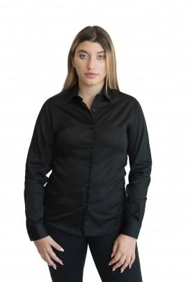 Γυναικείο Πουκάμισο Μαύρο Πουκάμισο Total Black - ELENA