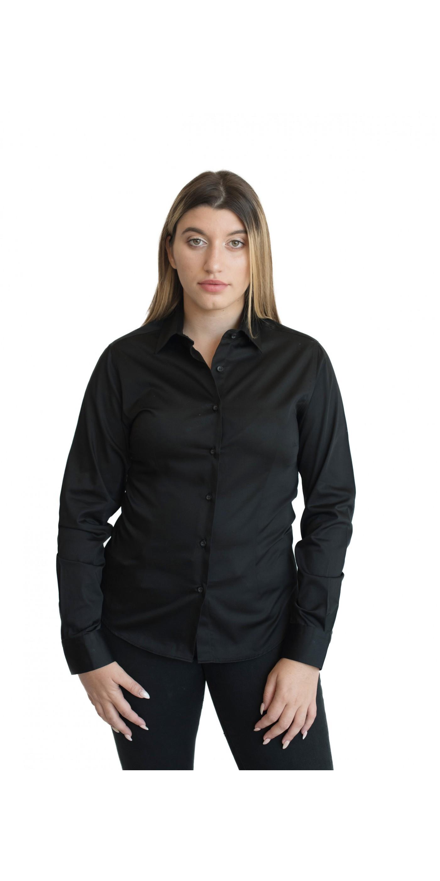 b7f3d98dcd01 Γυναικείο Πουκάμισο Μαύρο Πουκάμισο Total Black - ELENA. Loading zoom
