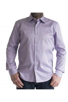 Ανδρικό σπόρ πουκάμισο slim fit μονοχρωμο μωβ-λεβαντα