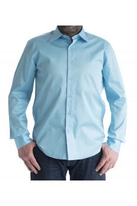 Ανδρικό πουκάμισο Slim Fit μονόχρωμο τιρκουάζ