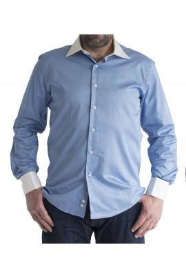 Ανδρικό Πουκάμισο slim fit μονοχρωμο μπλε-ραφ με λευκο γιακα και μανσετα
