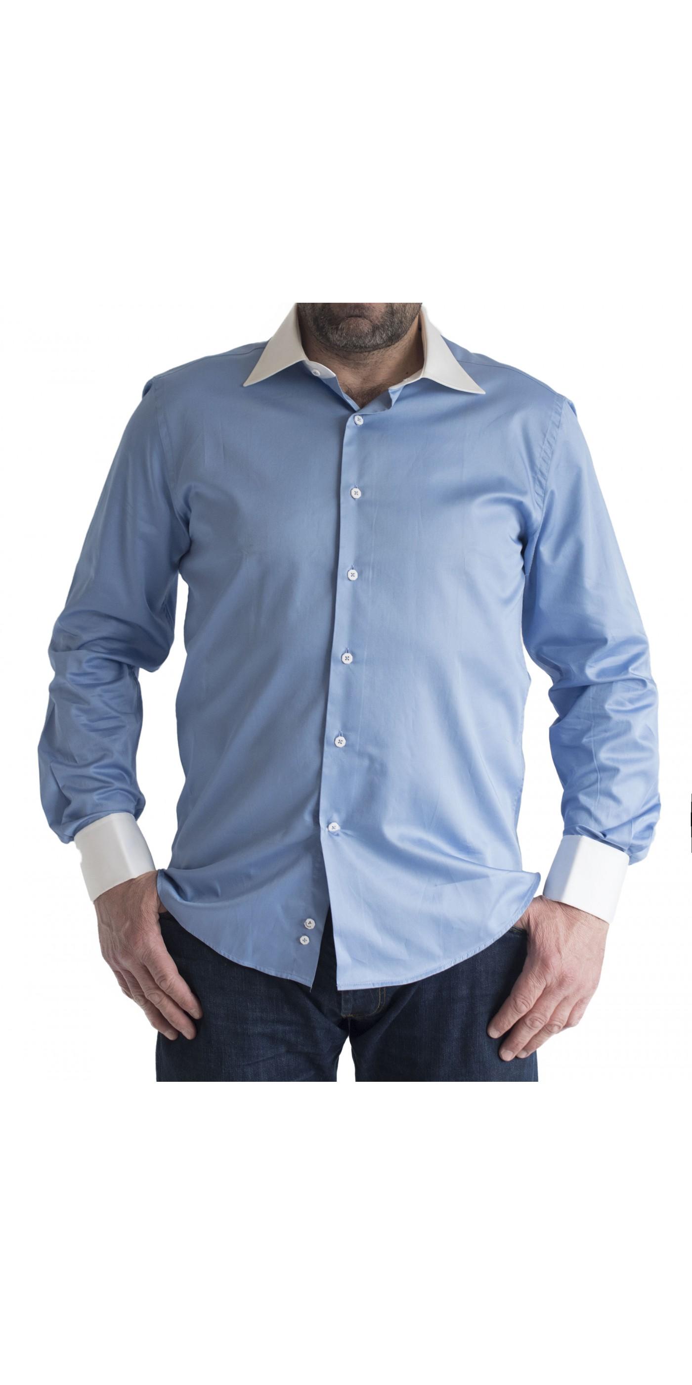 70d5cdeb98bb Ανδρικό Πουκάμισο slim fit μονοχρωμο μπλε-ραφ με λευκο γιακα και μανσετα. Loading  zoom