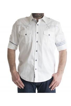 Ανδρικό Πουκάμισο Slim Fit μονοχρωμο λευκο με διπλη τσεπη και καρο επενδυση στο γιακα