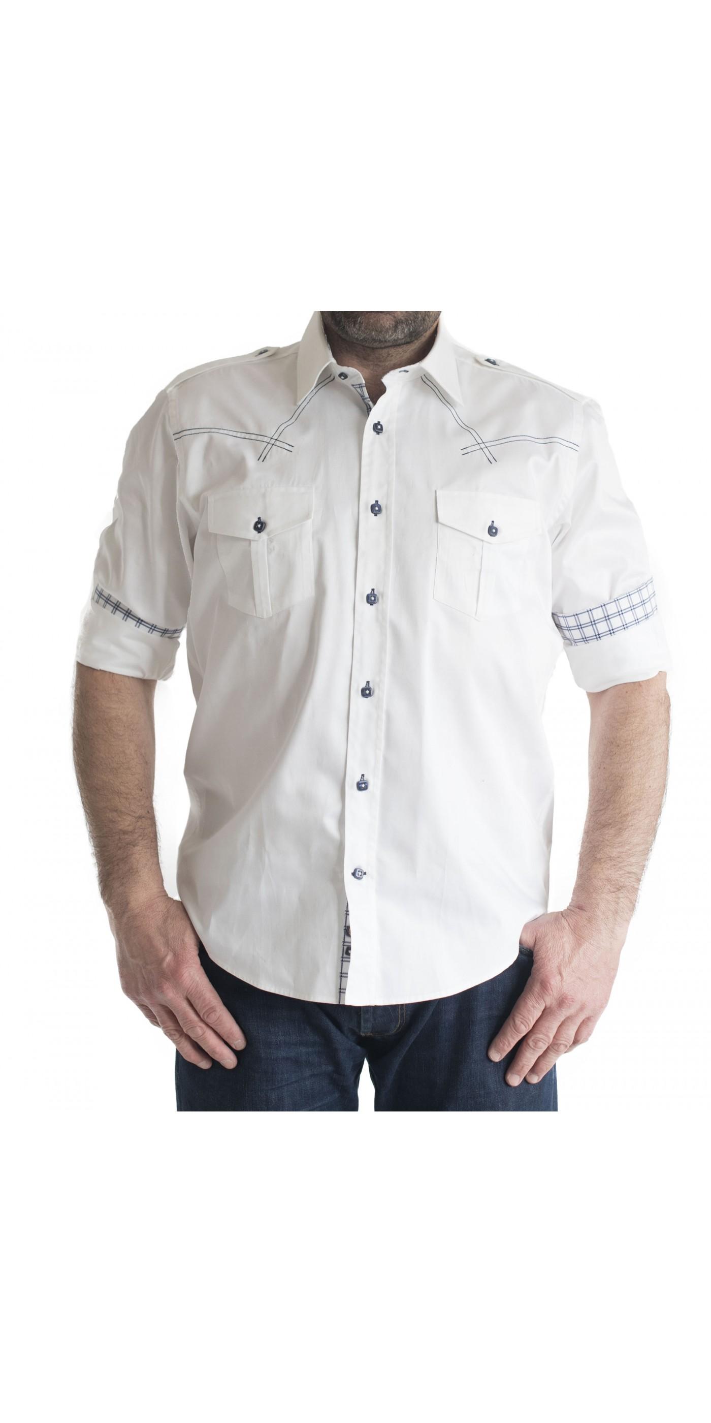 816cb47fe167 Ανδρικό Πουκάμισο Slim Fit μονοχρωμο λευκο με διπλη τσεπη και καρο επενδυση  στο γιακα. Loading zoom