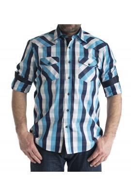 Ανδρικό Πουκάμισο slim fit καρο μπλε-γαλαζιο-λευκο με διπλη τσεπη