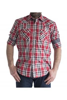 Ανδρικό πουκάμισο slim fit καρο κοκκινο-γκρι-λευκο με διπλη τσεπη