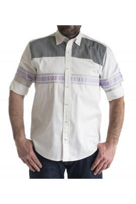 82e88212c704 Ανδρικό πουκάμισο slim fit λευκο με ασπρομαυρες ριγες και μονοχρωμη μωβ  επενδυση στο γιακα