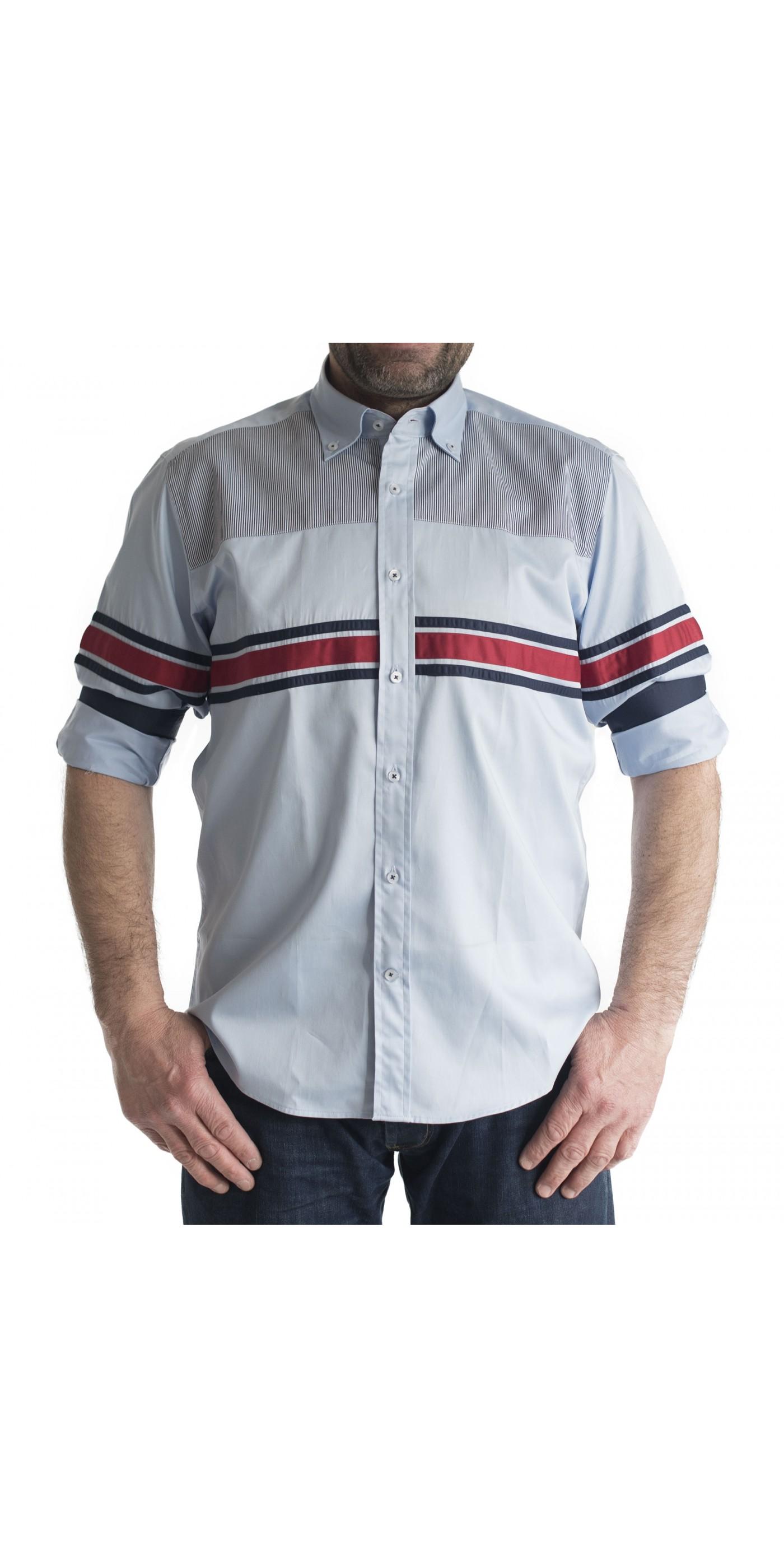 317a17a8d8fa Ανδρικό πουκάμισο slim fit γαλαζιο με ασπρες-μπλε ριγες και μονοχρωμη  κοκκινη επενδυση στο γιακα. Loading zoom