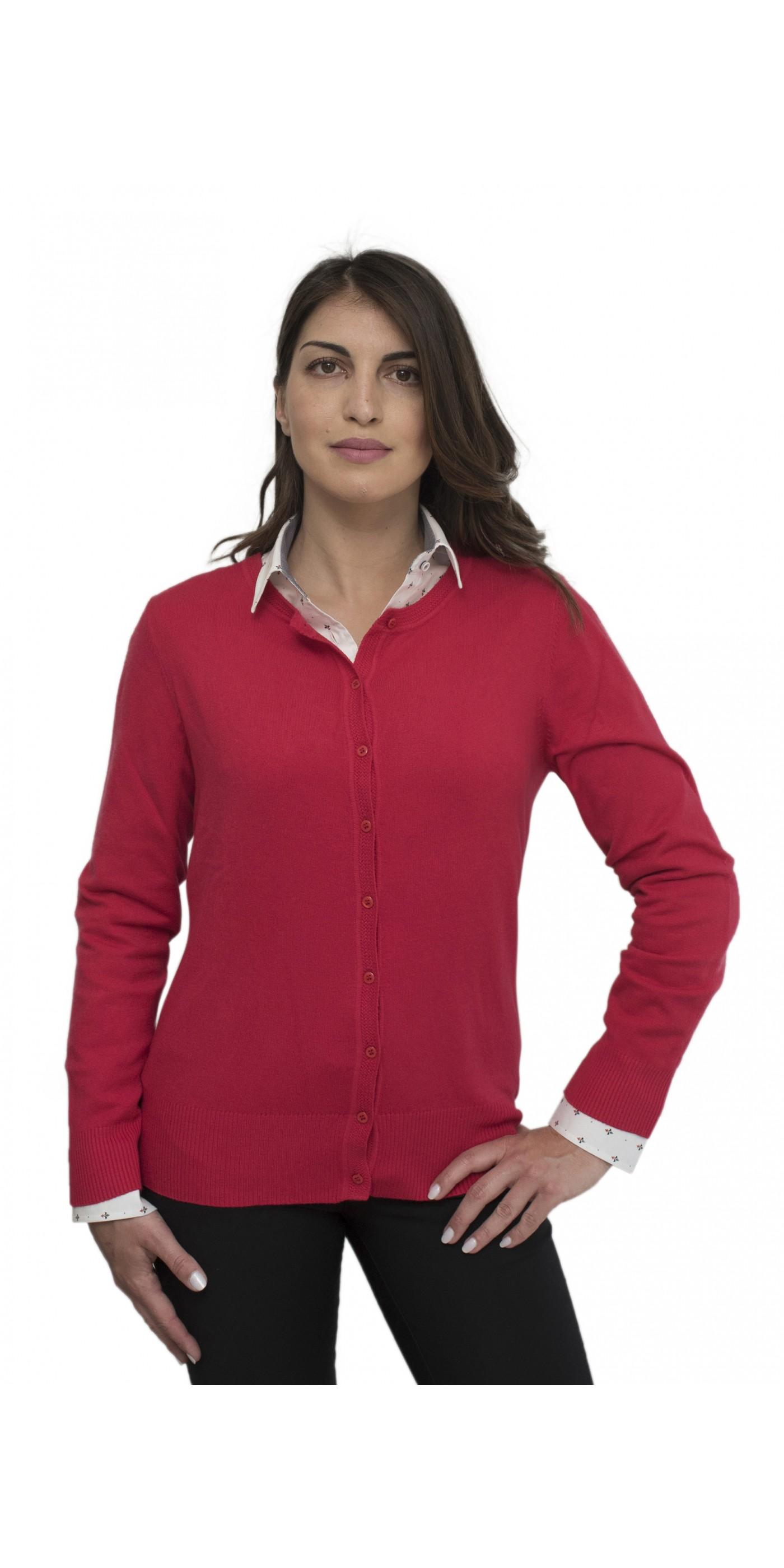 04a7bb384309 Κόκκινη απαλή γυναικεία ζακέτα με λαιμόκοψη. Loading zoom