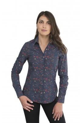 Γυναικείο πουκάμισο μπλε με χρωματιστά μοτίβα puzzle