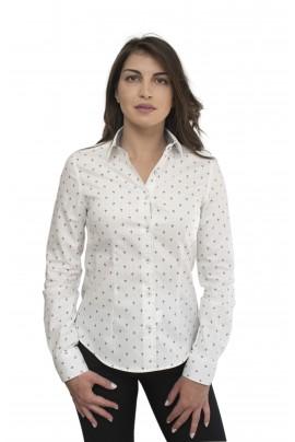 Λευκό γυναικείο πουκάμισο με οικόσημο και λεπτό diagonal μπλε κομποζαρισμα στην μανσετα
