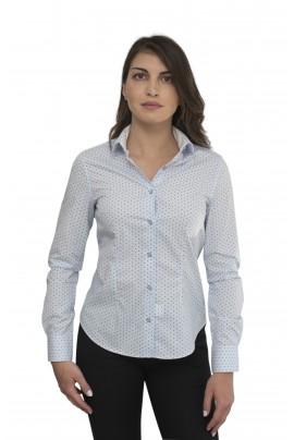 Γαλάζιο γυναικείο πουκάμισο με μπλε μοτιβάκι