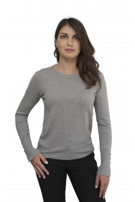 Γκρι γυναικεία απαλή μπλούζα με λαιμόκοψη