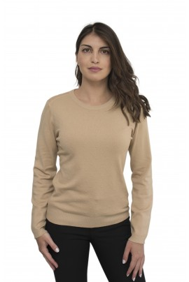Μπεζ απαλή γυναικεία μπλούζα με ανάγλυφα κομπάκια σε λαιμόκοψη