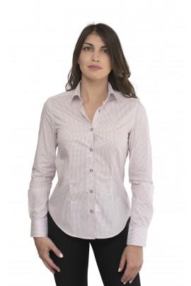 Λευκό γυναικείο πουκάμισο με κόκκινα μοτίβα ,μπλε κουμπάκι και λευκό με μπλε μοτίβα κομποζαρισμα στην μανσετα