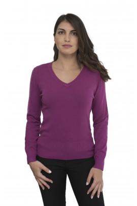 Μωβ απαλή γυναικεία μπλούζα με λαιμόκοψη