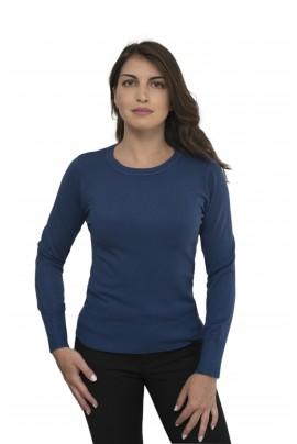 Μπλε ηλεκτρικ απαλή γυναικεία μπλούζα με λαιμόκοψη
