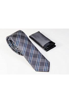 Γκρι Γραβάτα με χιαστί μπλε και λευκό Πλάτος 6,5cm