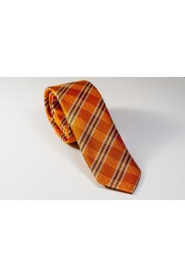 Πορτοκαλί Γραβάτα με χιαστί λευκό και μπλε Πλάτος 6,5cm