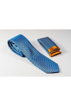 Μπλε Γραβάτα με σχέδιο πορτοκαλί και λευκή λεπτομέρεια Πλάτος 6,5cm