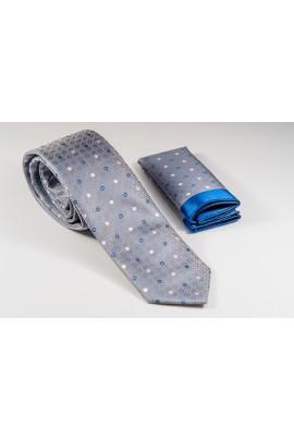 Γκρι Γραβάτα με λεπτομέρειες ροζ και μπλε Πλάτος 6,5cm