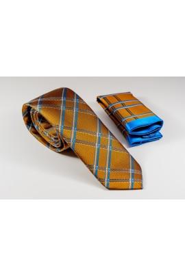 Πορτοκαλί Γραβάτα με χιαστί γαλάζιο, λευκό και γκρι Πλάτος 6,5cm