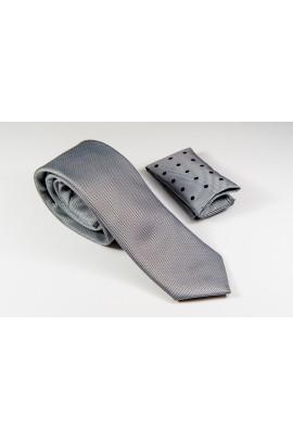Γραβάτα γκρι με μαύρο και μαύρη πουά λεπτομέρεια στο μαντιλάκι Πλάτος 6,5cm
