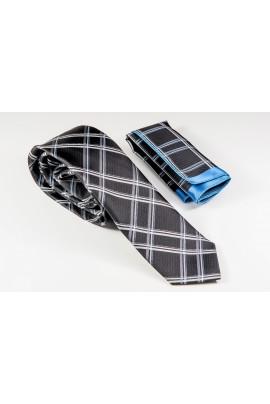 Μαύρη Γραβάτα με χιαστί γκρι, μπεζ και γαλάζιο Πλάτος 6,5cm