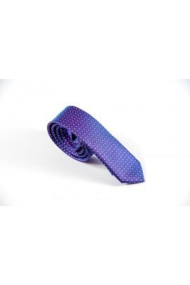 Slim μωβ γραβάτα με ασημί μικροσχέδιο