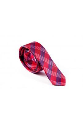 Slim κόκκινη γραβάτα με λευκό και γαλάζιο ντιαγκοναλ σχεδιο