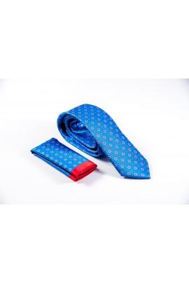 Regular γαλάζια γραβάτα με κόκκινο μικροσχέδιο & μαντηλάκι