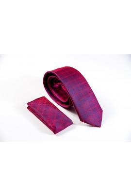 Regular μπορντώ γραβάτα με καρό μπορντώ μαύρο λεπτομέρειες και μαντηλάκι
