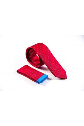Regular κόκκινη γραβάτα με γαλάζιο μικροσχέδιο και μαντηλάκι